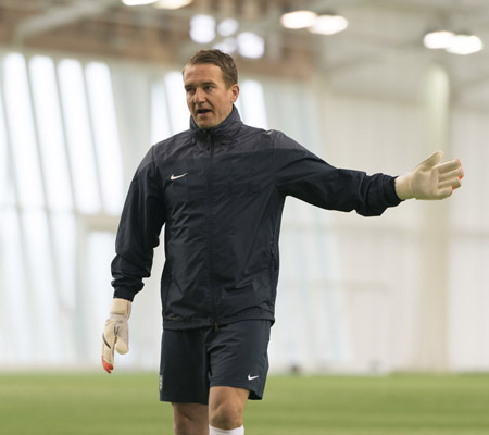 Lee Kendall, goalkeeper coach, presents at International Goalkeeper Coaches Conference